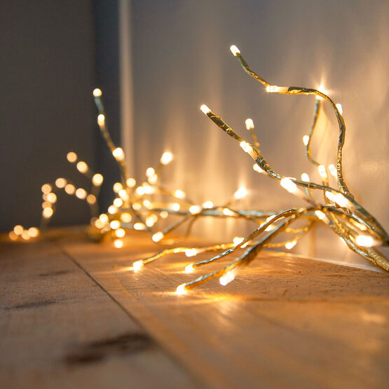 Gold LED Lighted Vine, Warm White Lights, 1 pc