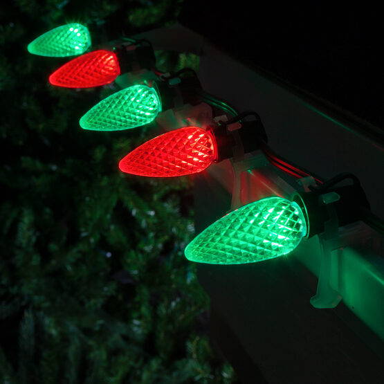 OptiCore C9 Commercial LED String Lights, Green / Red, 50 Lights, 50'