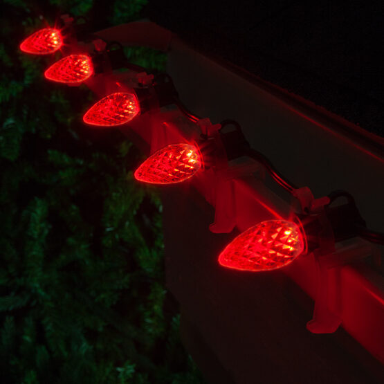OptiCore C7 Commercial LED String Lights, Red, 25 Lights, 25'
