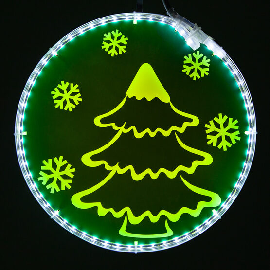 Electric Green Lit Medallion with Tree Laser Etching