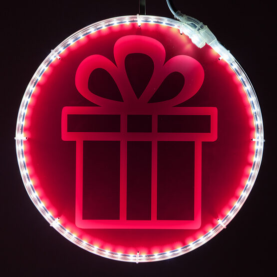 """12"""" Electric Pink Lit Medallion with Present Laser Etching"""