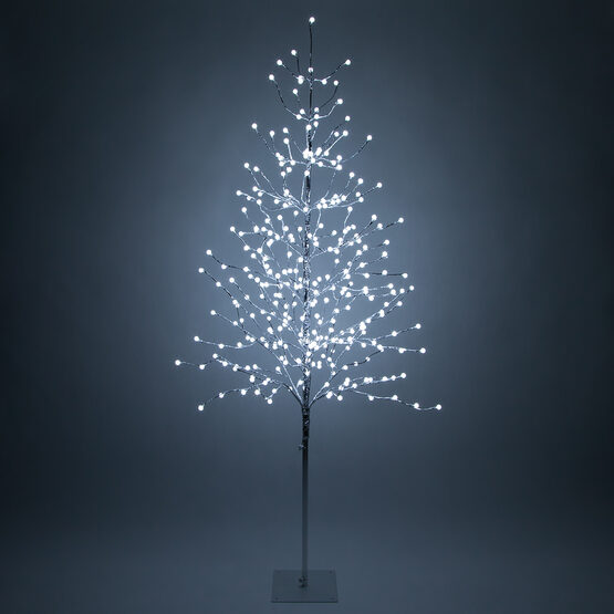 6' Silver Decorative Tree, Cool White LED Mini Globe Lights
