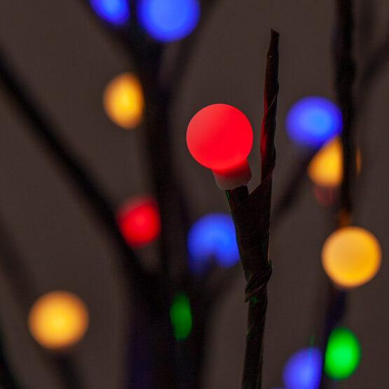 6' Brown Decorative Tree, Multicolor LED Mini Globe Lights