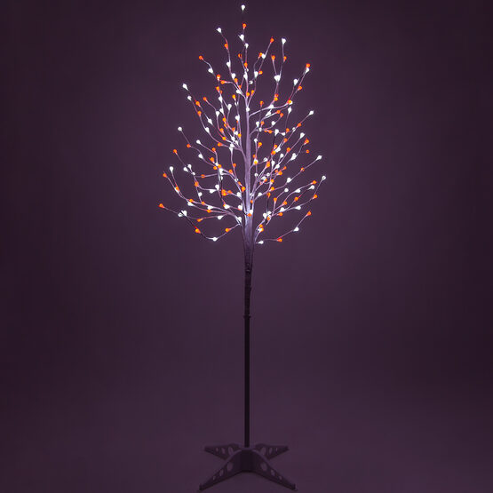 6' White Decorative Tree, Red-Cool White LED Mini Globe Lights