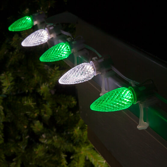 Opticore C9 Commercial LED String Lights, Green/Cool White