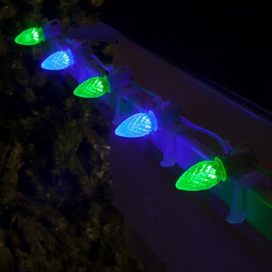 OptiCore C7 Commercial LED String Lights, Blue / Green, 50 Lights, 50'