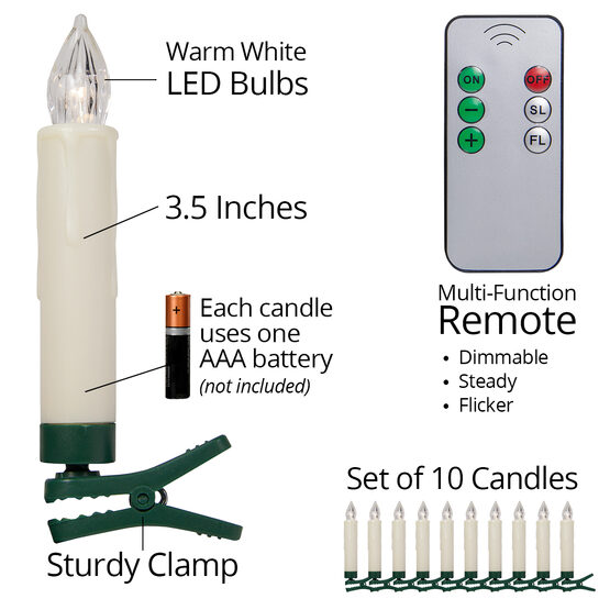 "3.5"" Battery Operated Tree Candles with Remote, Set of 10"