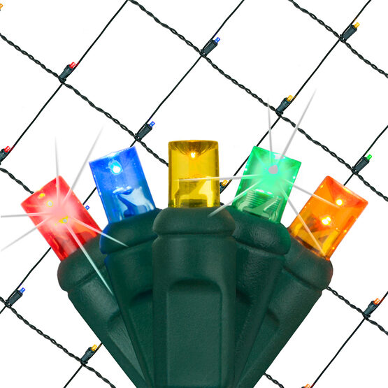 4' x 6' 5mm SoftTwinkle TM LED Net Lights, Multicolor, Green Wire