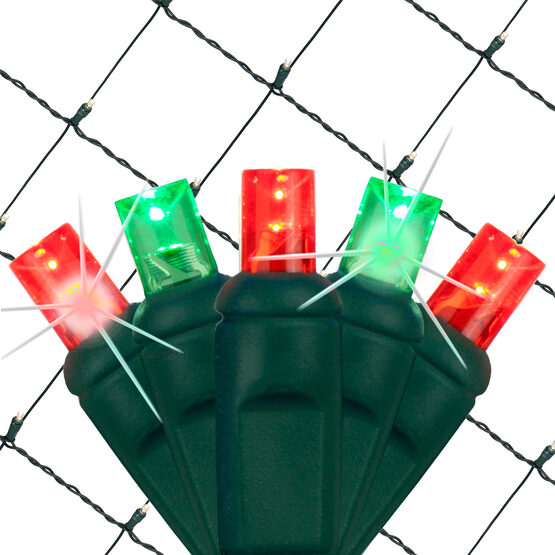 4' x 6' 5mm SoftTwinkle LED Net Lights, Red, Green, Green Wire