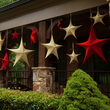 "54"" Gold Unlit Hanging Star, Fold Flat Frame with Metallic Polymesh"