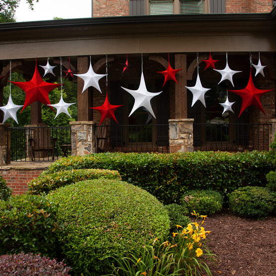 "60"" Red Unlit Hanging Star, Fold Flat Frame with Metallic Polymesh"