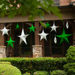 "32"" Green Unlit Hanging Star, Fold Flat Frame with Metallic Polymesh"