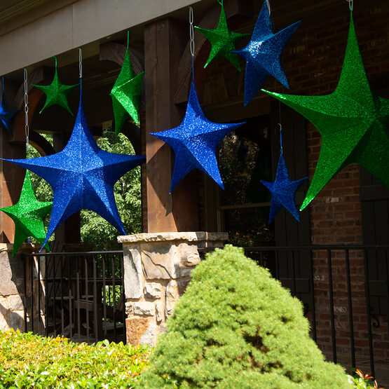 "54"" Green Unlit Hanging Star, Fold Flat Frame with Metallic Polymesh"