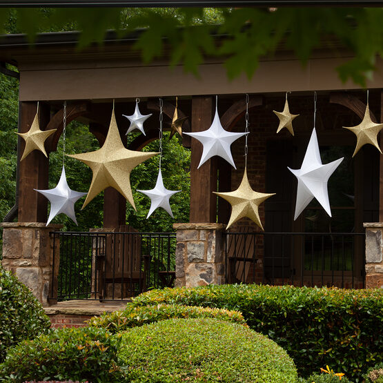 "32"" White Unlit Hanging Star, Fold Flat Frame with Metallic Polymesh"