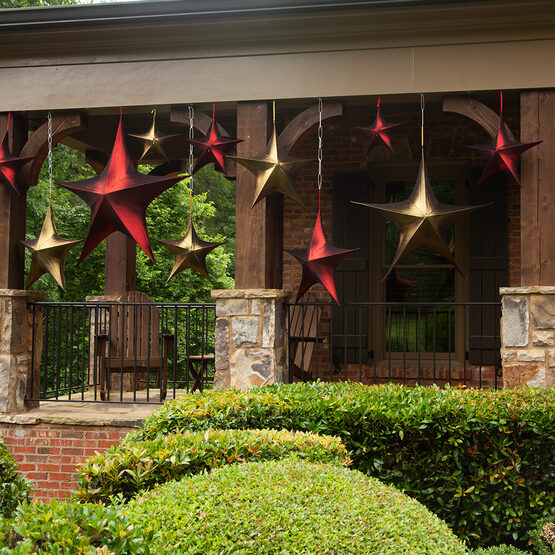 "16"" Red Unlit Hanging Star, Fold Flat Frame with Metallic Lame"