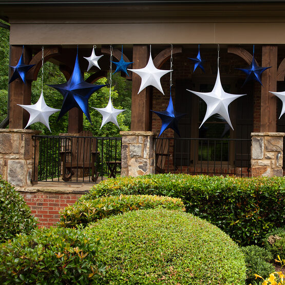 "26"" Blue Unlit Hanging Star, Fold Flat Frame with Metallic Lame"