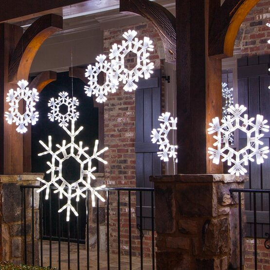 LED Folding Snowflake, Cool White Twinkle Lights