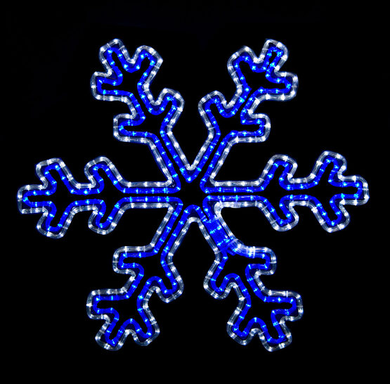 LED 30 Point Snowflake with Controller, Blue and Cool White