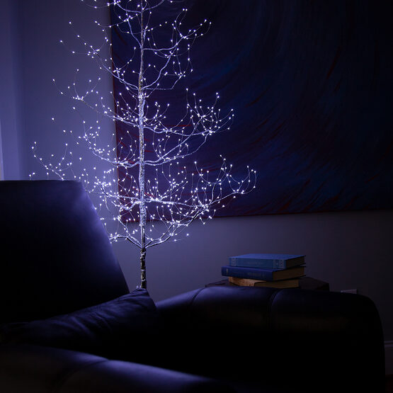 5' Silver Fairy Light Tree, Cool White LED Lights