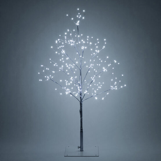 over 160 LED lights 180cm Silver Twig Tree with Coloured Led Illuminated balls