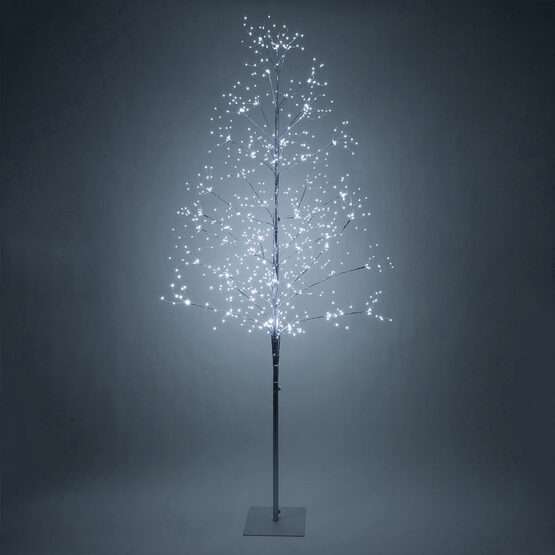 7' Silver Fairy Light Tree, Cool White LED Lights