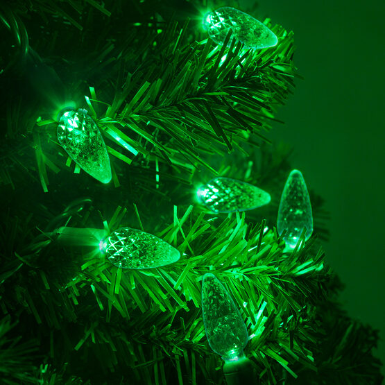 Strawberry LED String Lights, Green, Green Wire