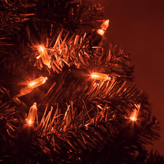 T5 Mini Christmas String Lights, Amber, Green Wire