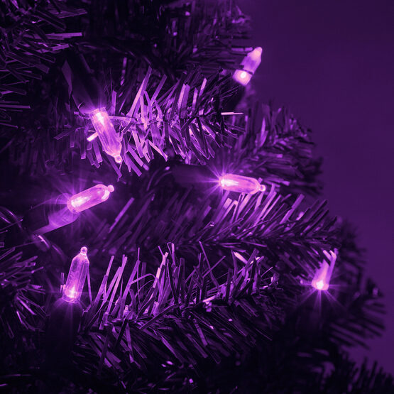 T5 Mini Christmas String Lights, Purple, Green Wire