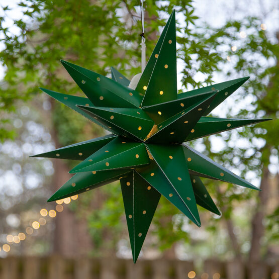 Green Aurora Superstar TM Moravian Star Lantern, Fold-Flat, LED Lights