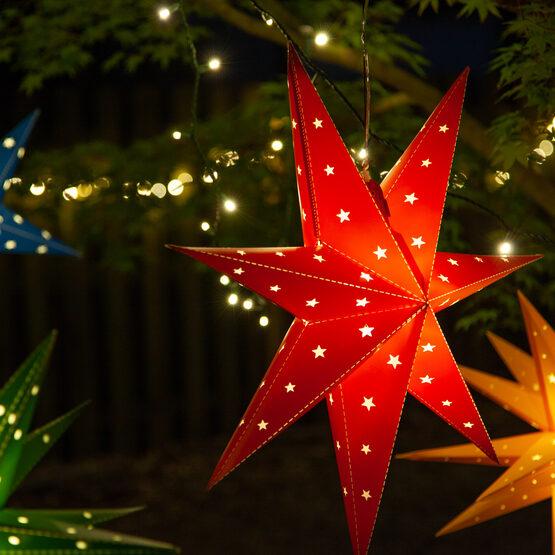 Red Aurora Superstar TM 7 Point Star Lantern, Fold-Flat, LED Lights