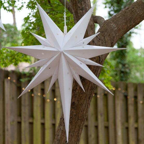 White Aurora Superstar TM Bethlehem Star Lantern, Fold-Flat, LED Lights