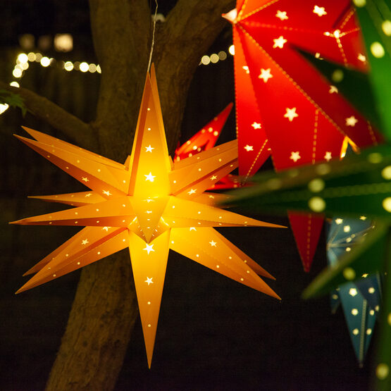 Yellow Aurora Superstar TM Moravian Star Lantern, Fold-Flat, LED Lights