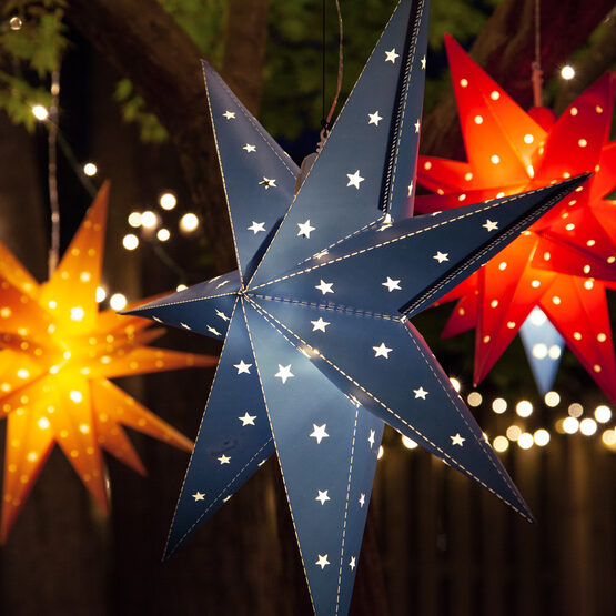 Blue Aurora Superstar TM 7 Point Star Lantern, Fold-Flat, LED Lights