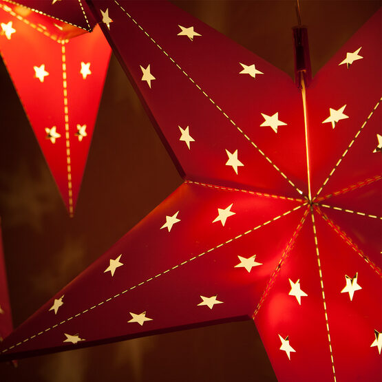 Red Aurora Superstar TM 5 Point Star Lantern, Fold-Flat, LED Lights