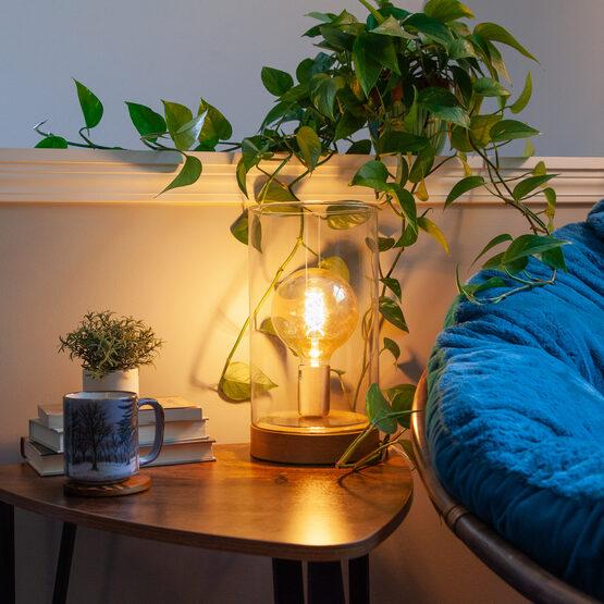 G125 Globe Light FlexFilament TM LED Edison Light Bulb, Warm White Antiqued Glass