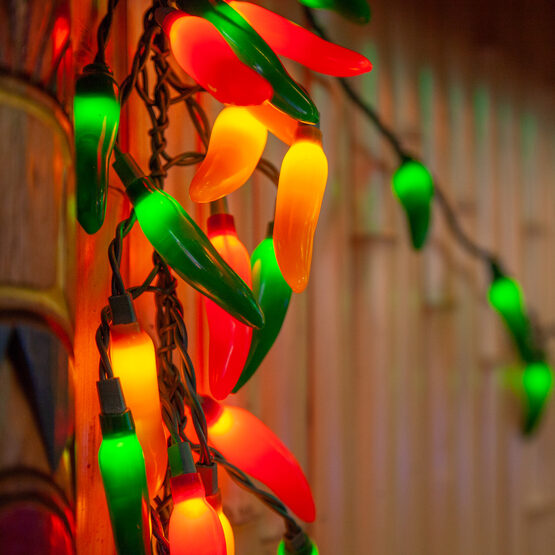 Chili Pepper Cluster Light Set 35 Multicolored Lights