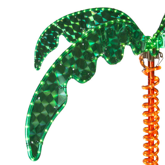 Deluxe Rope Light LED Lighted Palm Tree with Green Canopy