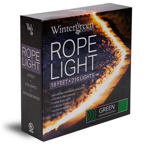 "18' Green Rope Light, 120 Volt, 1/2"""
