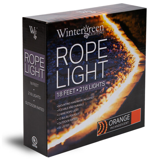 150' Orange Rope Light, 120 Volt, 1/2""