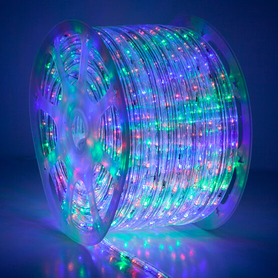 Multi: Red, Blue, Green, Yellow LED Rope Light, 120 Volt