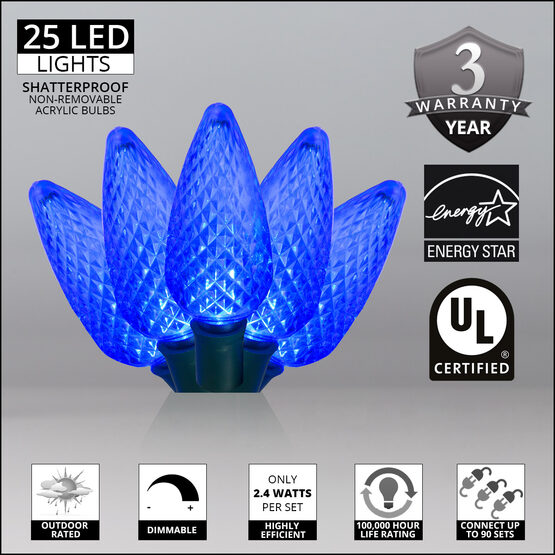 C9 LED String Lights, Blue, Green Wire