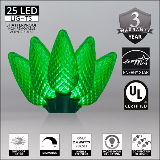C9 LED String Lights, Green, Green Wire