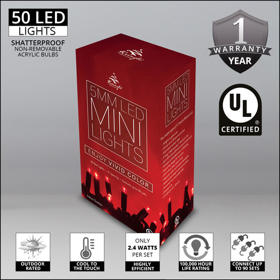 Red LED Christmas Lights, 50 ct, 5MM Mini