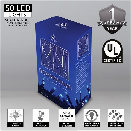 Blue LED Christmas Lights, 50 ct, 5MM Mini