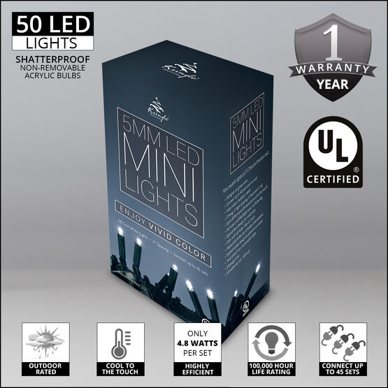 Cool White String Lights, 50 ct, LED 5MM Mini