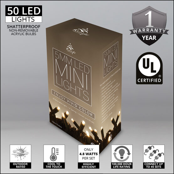 Warm White LED Christmas Lights, 50 ct, 5MM Mini, Outdoor