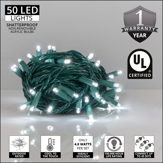 Cool White Outdoor LED String Lights, 50 ct, 5MM