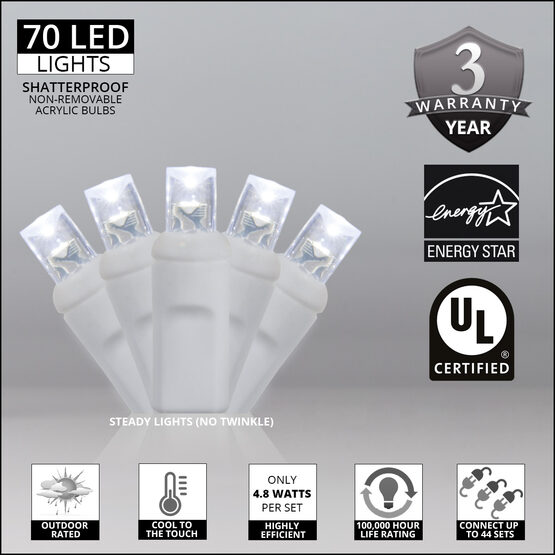 Wide Angle LED Mini Lights, Cool White, White Wire