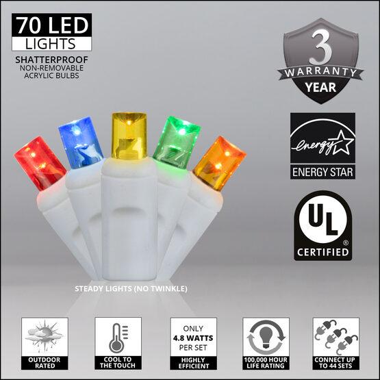 Wide Angle LED Mini Lights, Multicolor, White Wire