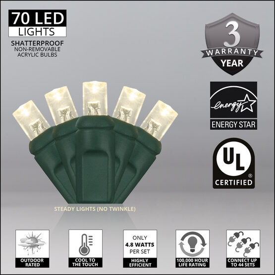 Wide Angle LED Mini Lights, Warm White, Green Wire